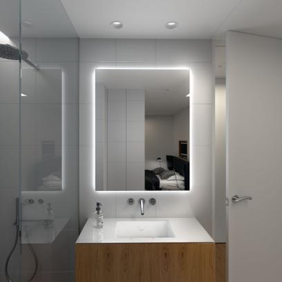 Badezimmerspiegel Hinterleuchtet.Badspiegel Mit Led Beleuchtung Hinterleuchtet Glaswerk24