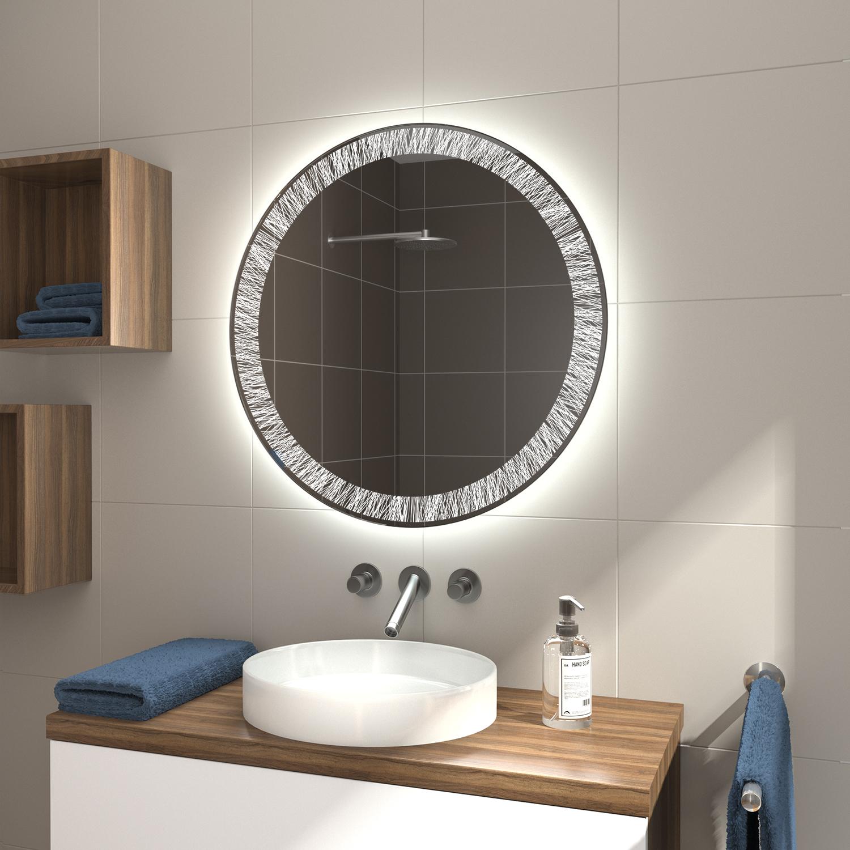 Badspiegel Rund LDR20 mit Laser Gravur   Glaswerk20